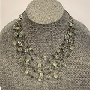 Multi Strand Layered Beaded Necklace Light Green